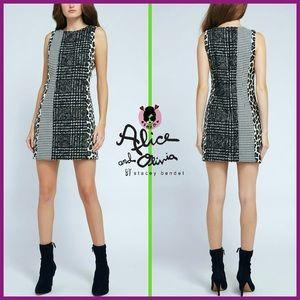 🏷 🆕 Alice + Olivia Mixed Panel Wool-Blend Dress